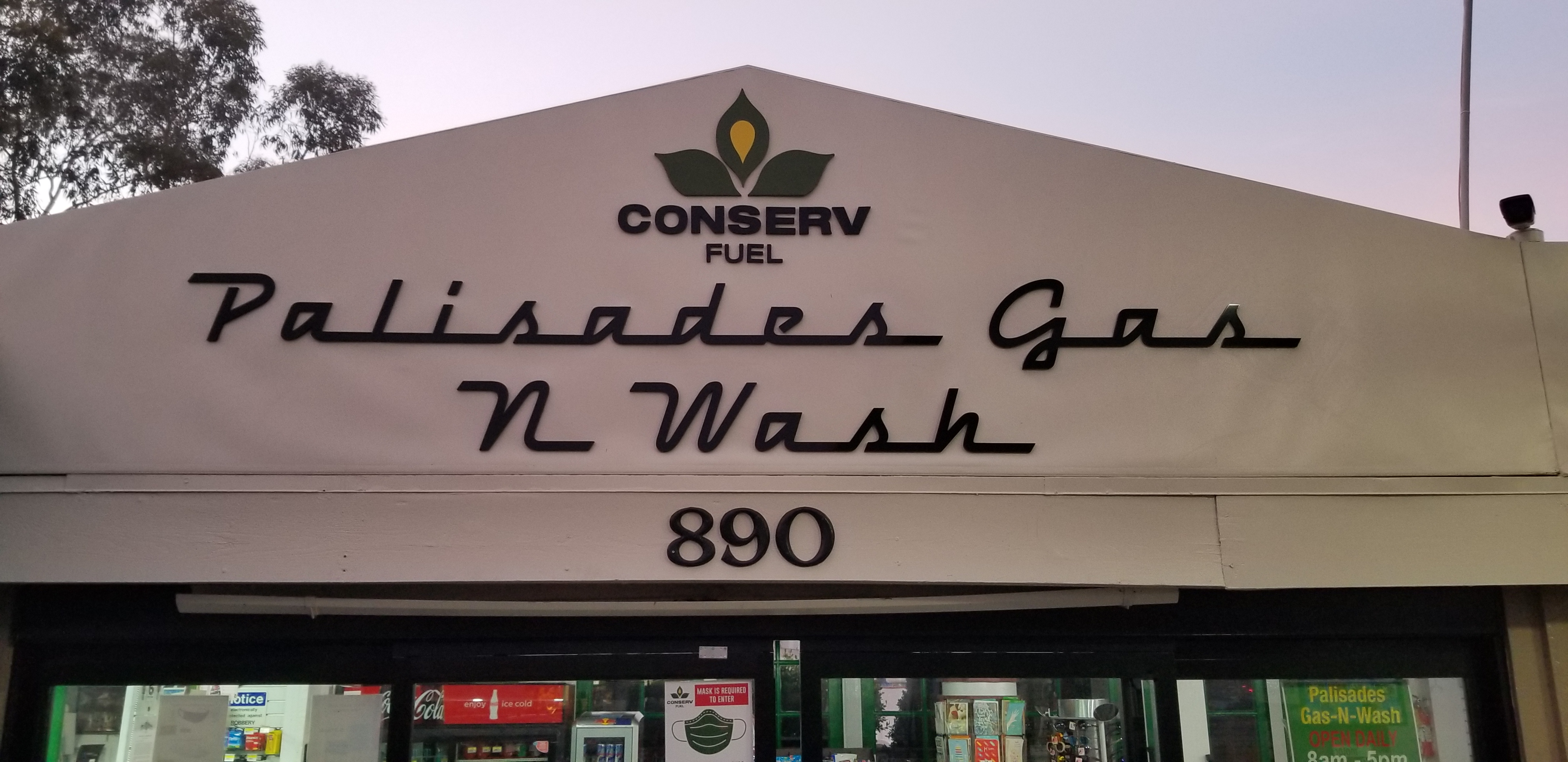 These are the custom dimensional letters sign made for Palisades Gas N Wash located at Conserv Fuel in the Pacific Palisades.