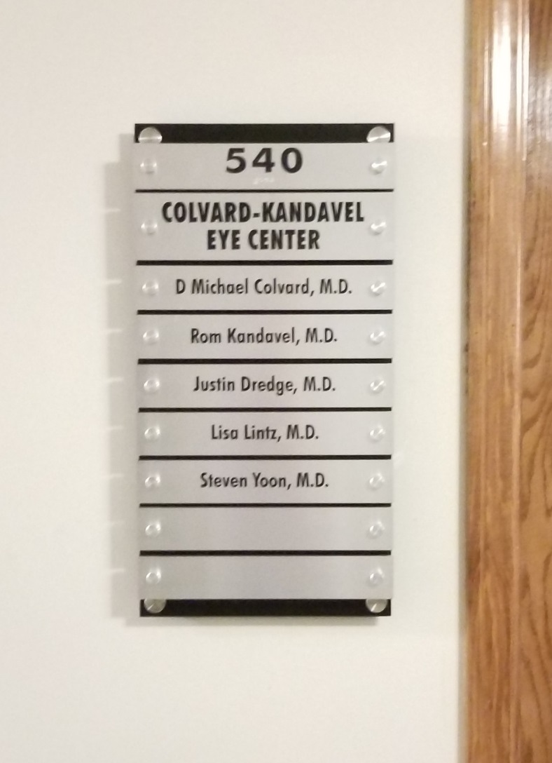 We fabricated and installed this directory suite plaque with changeable doctor names for Ethan Christopher Property Management's Encino location.