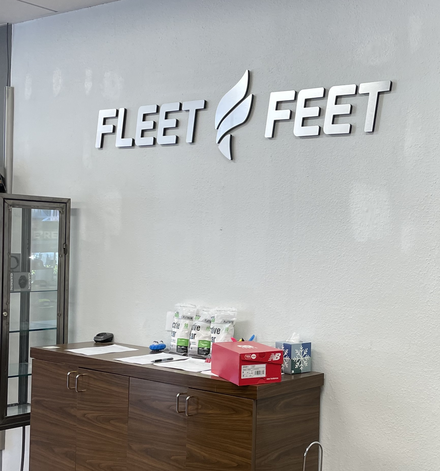 The continuing reopening is a perfect opportunity for people to bask in the glory of new signage. Like this lobby sign we made last year for Fleet Feet in Encino.