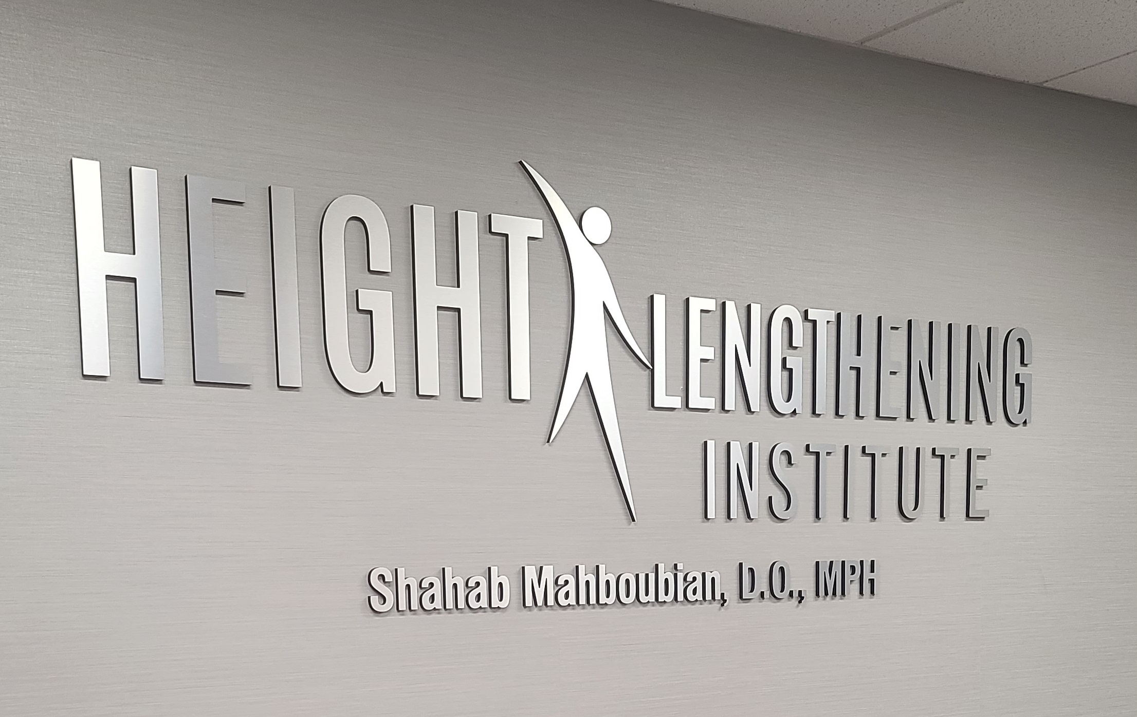 Our clinic lobby sign for the Height Lengthening Institute in Burbank enhances their office and makes the brand more visible to visiting patients.