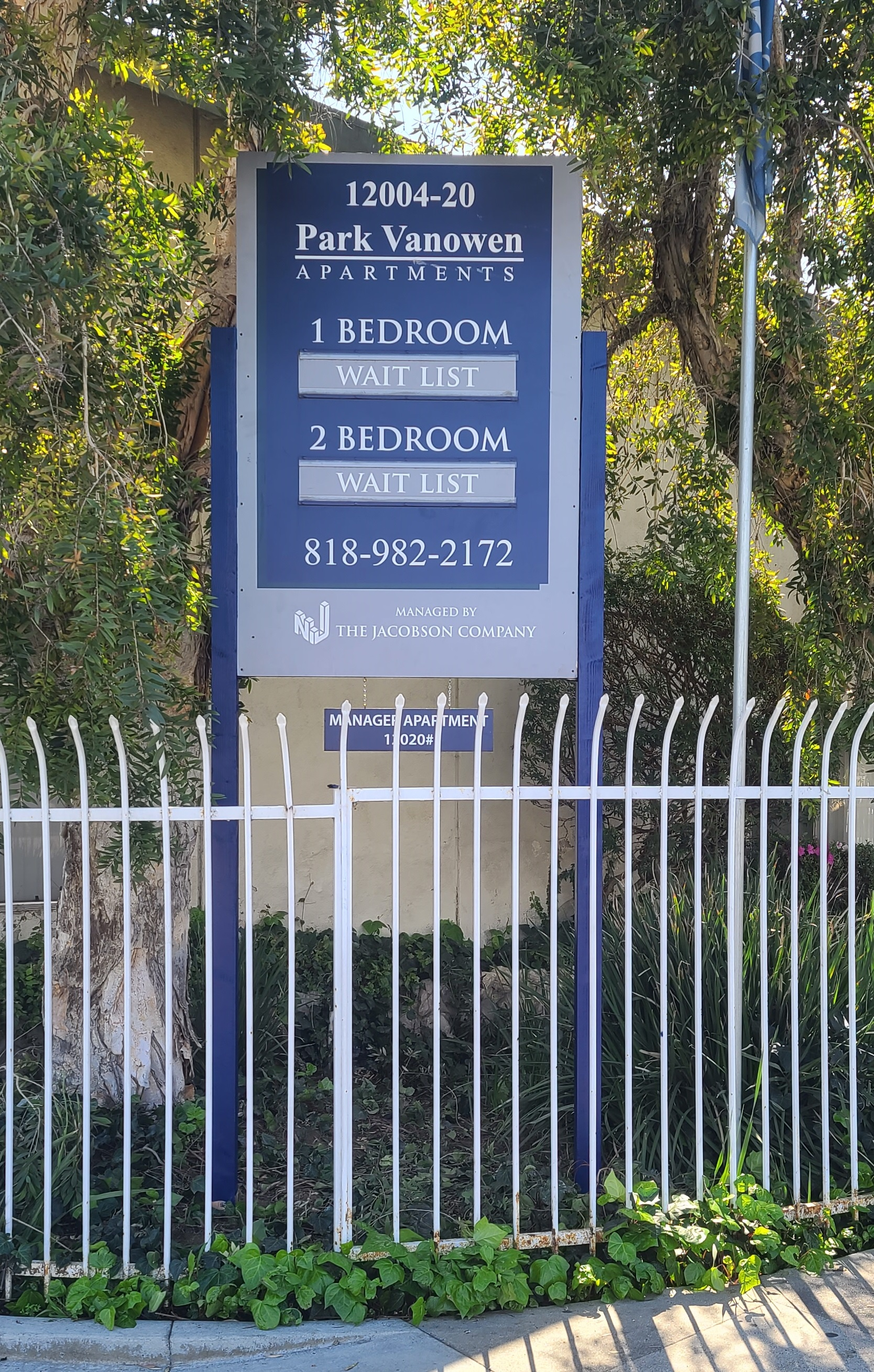 With this post and panel real estate sign Jacobson's North Hollywood Park Vanowen Apartments will be more visible and display info regarding unit availability.