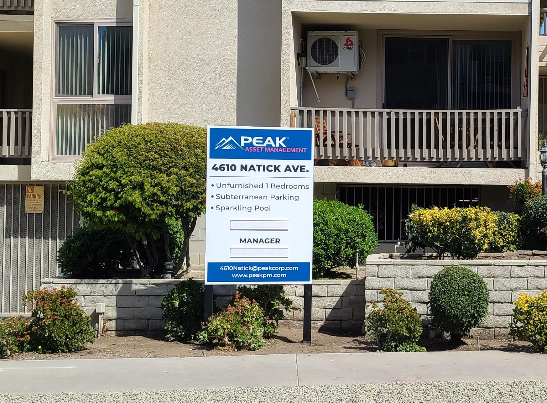 This is the post and panel real estate sign for our old friends Peak for their Natick Avenue apartment in Sherman Oaks.
