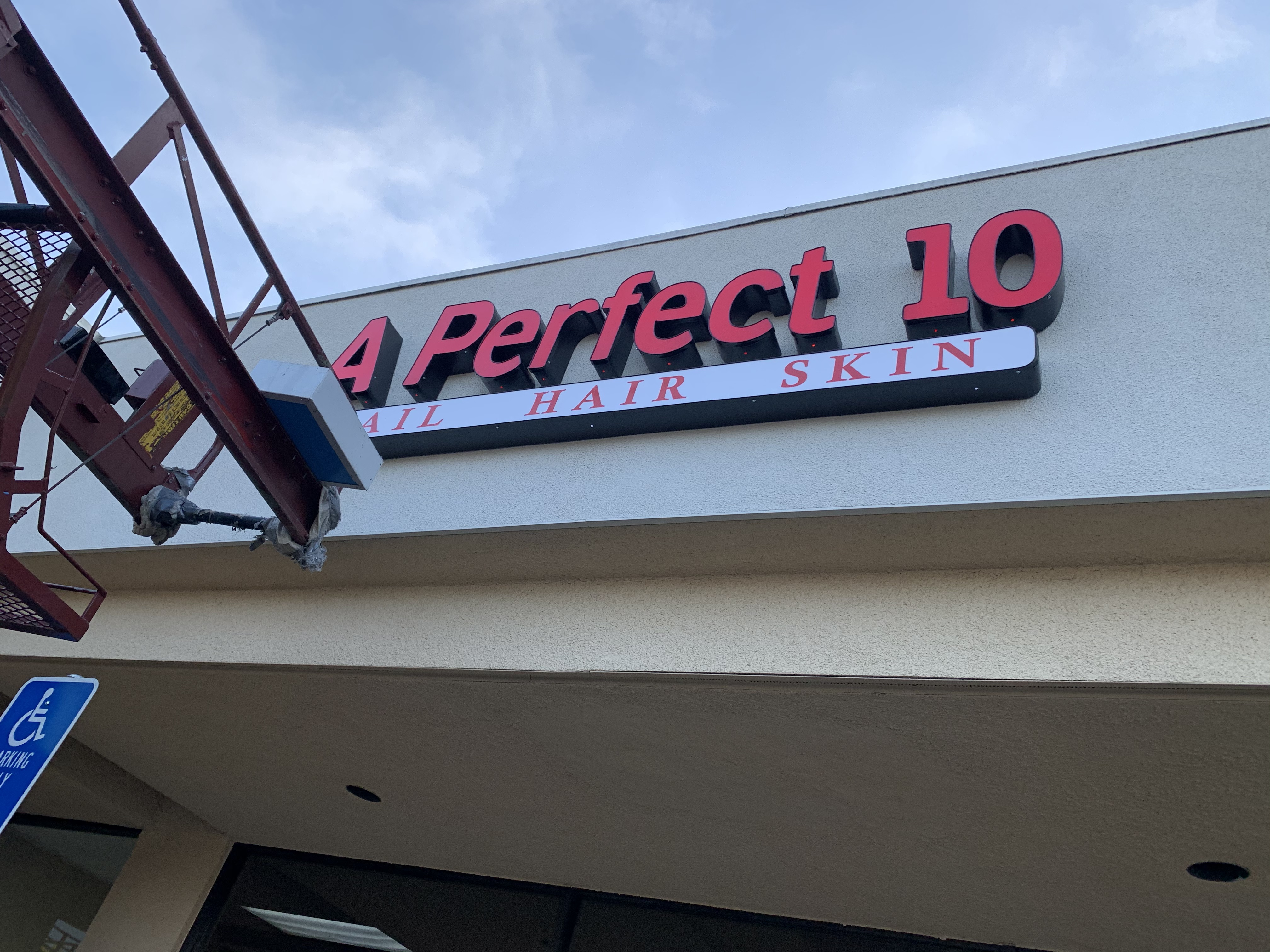 The channel letters entrance sign we fabricated and installed for A Perfect 10 Salon in Encino.