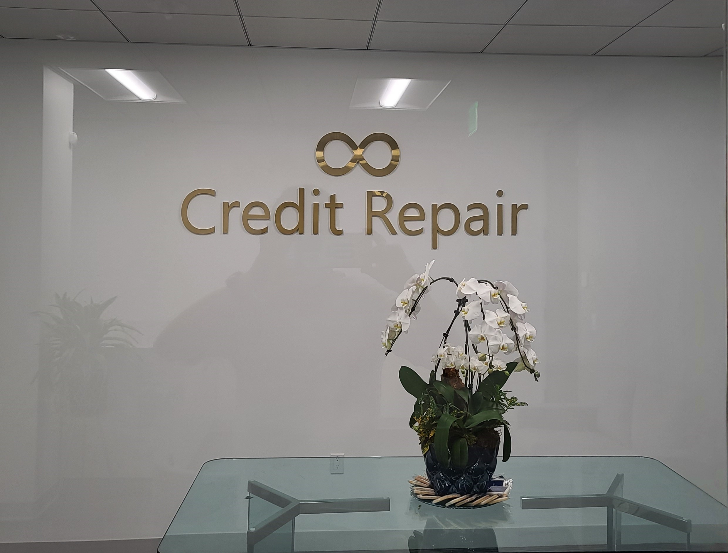 We fabricated and installed this office lobby sign for Unlimited Credit Repair's Woodland Hills Branch.