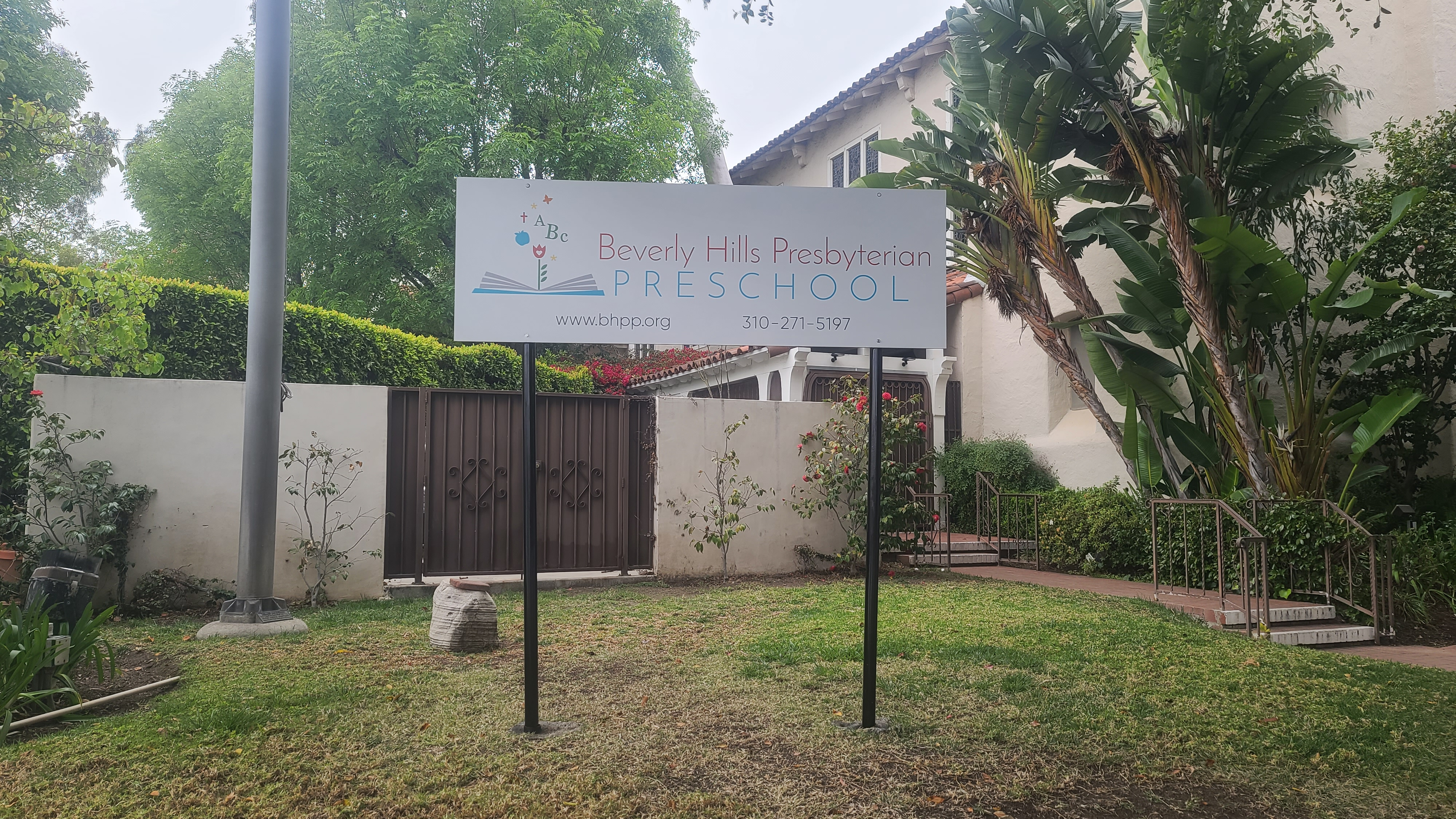 The post and panel school sign we fabricated and installed for for Beverly Hills Presbyterian Preschool in Beverly Hills.