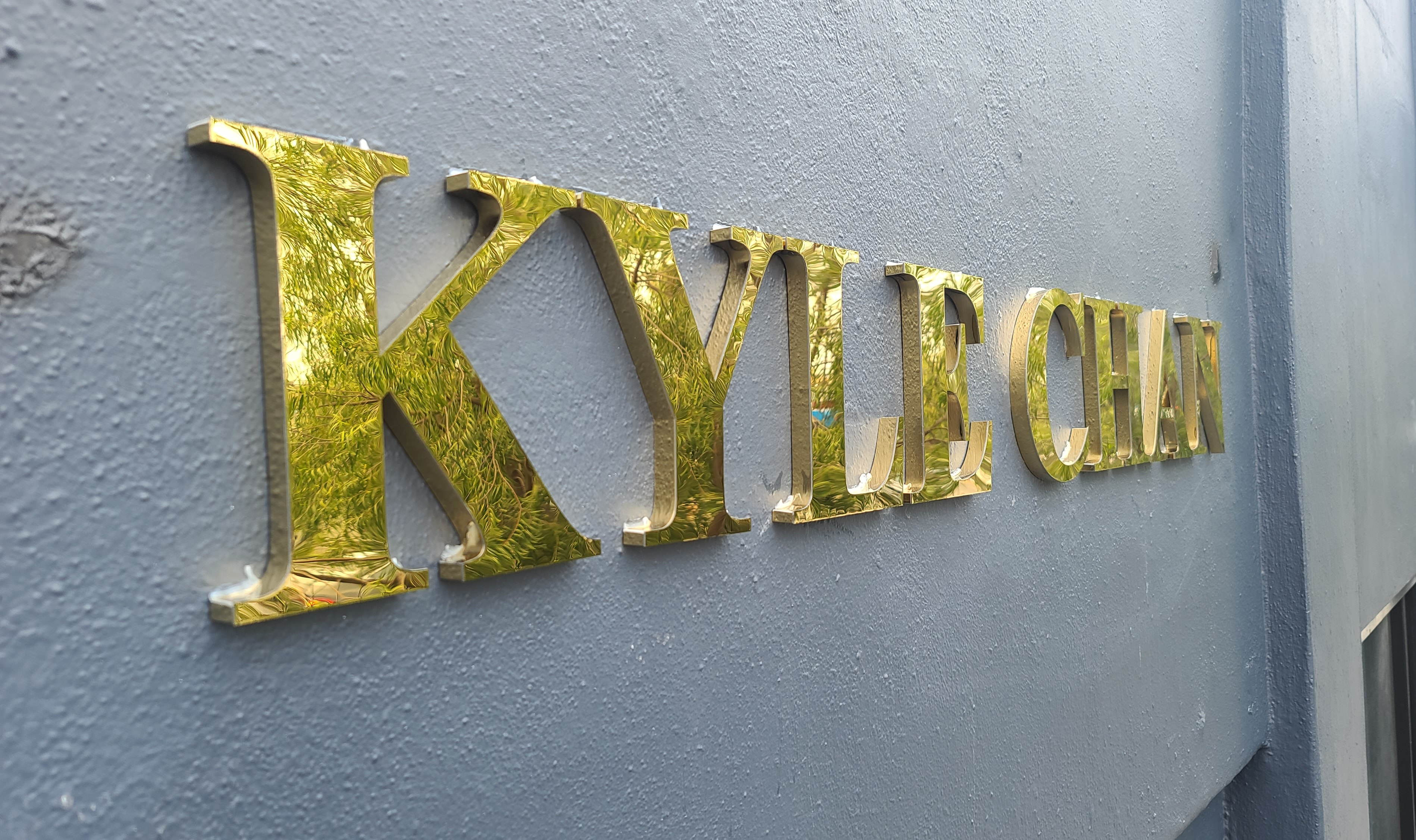 Dimensional letters for Kyle Chan, boutique storefront sign for their West Hollywood branch that is certainly visually stunning.