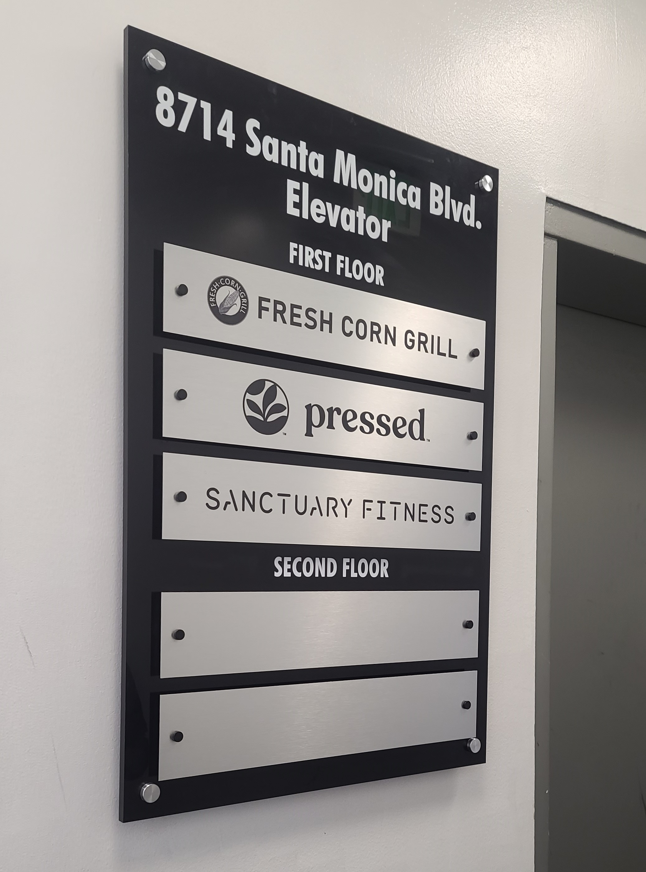 Directory signs we fabricated and installed for Ronco Investments Inc. making navigation easier for customers in their Beverly Hills establishment.