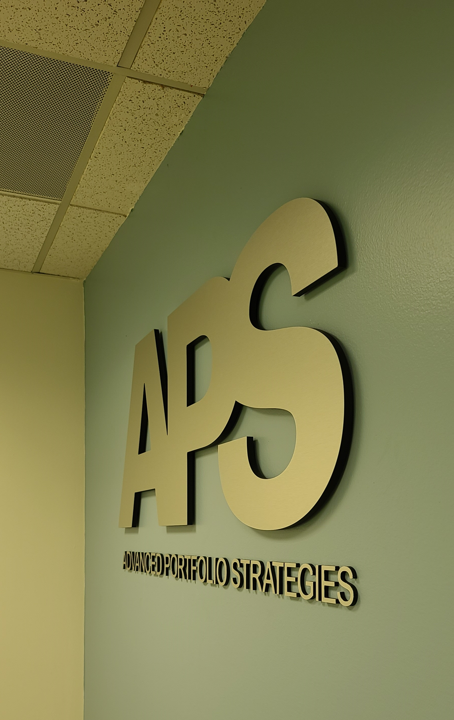Lobby signs give corporate offices that professional look. Such as the signage we fabricated and installed for Advanced Portfolio Strategies in Torrance.