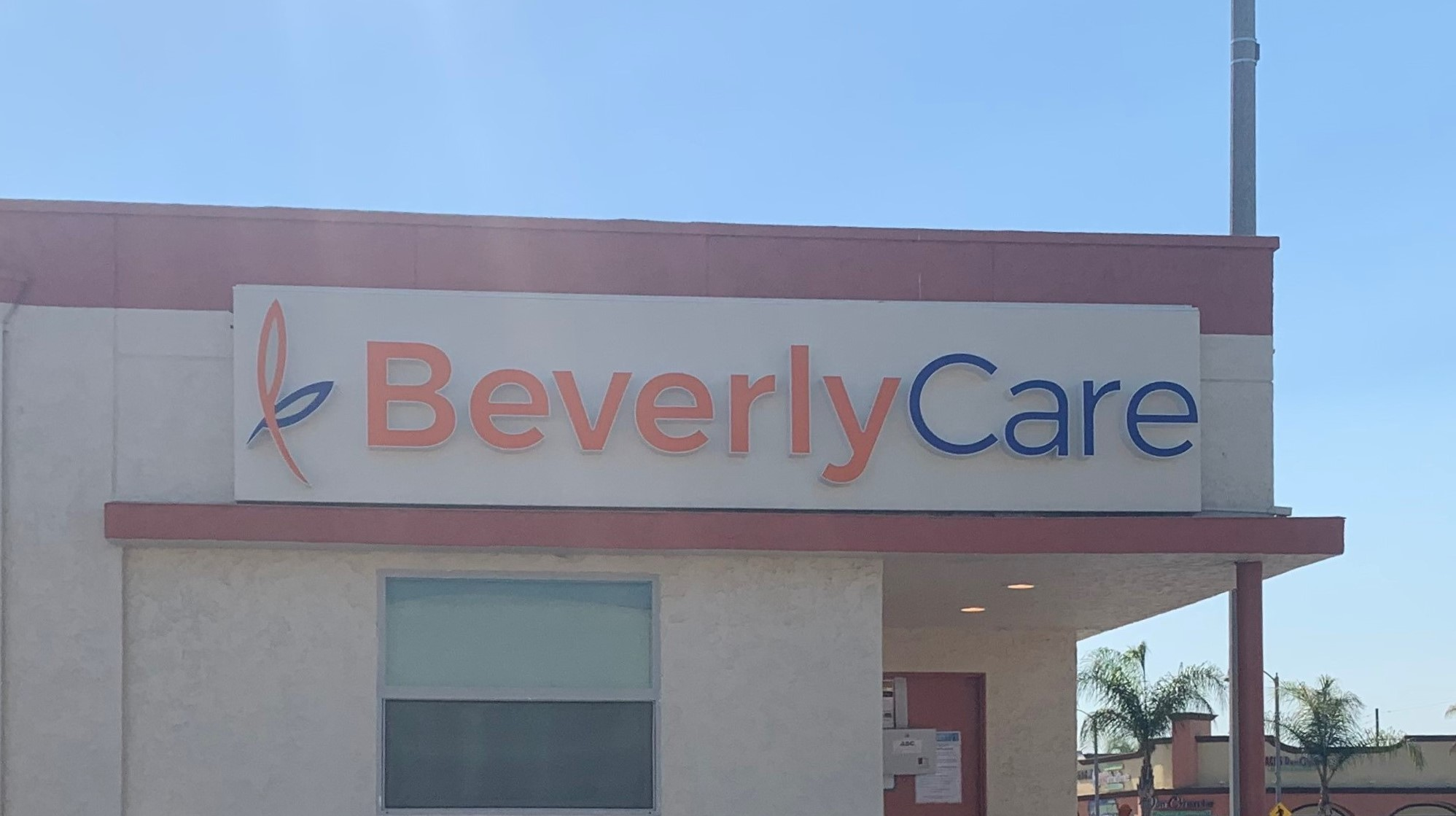 Second set of front lit channel letters for BeverlyCare. This is part of the channel letters sign package for their Montebello location at the Kelpien Center.