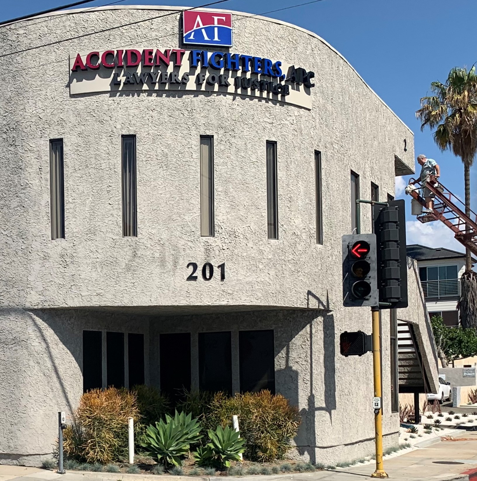 Our sign package for Address Fighters includes address numbers building signs for their Burbank office along with the front lit channel letters and a light box.