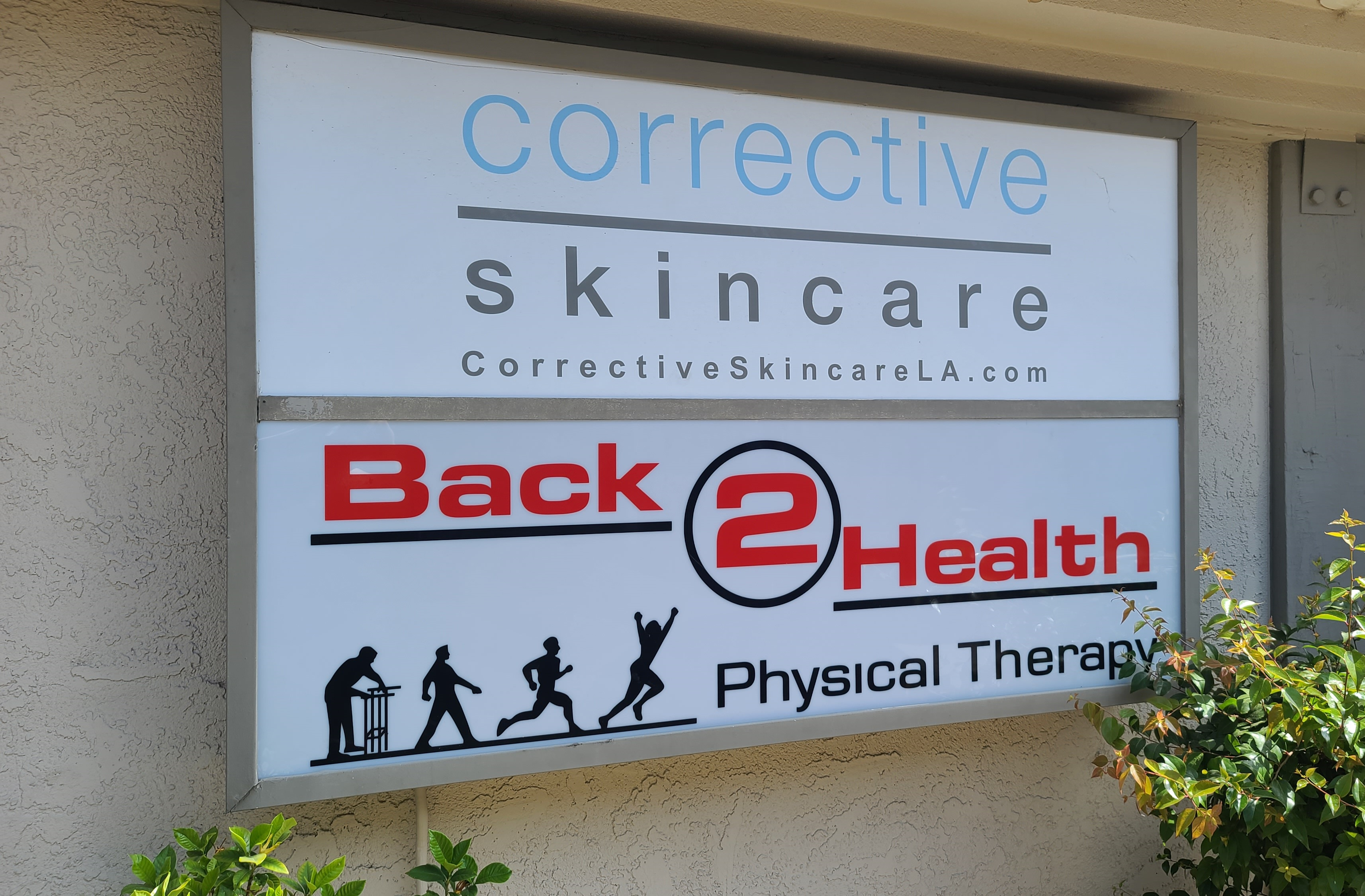 This lightbox sign is part of the comprehensive sign package we provided Back 2 Health for their Encino physical therapy center.