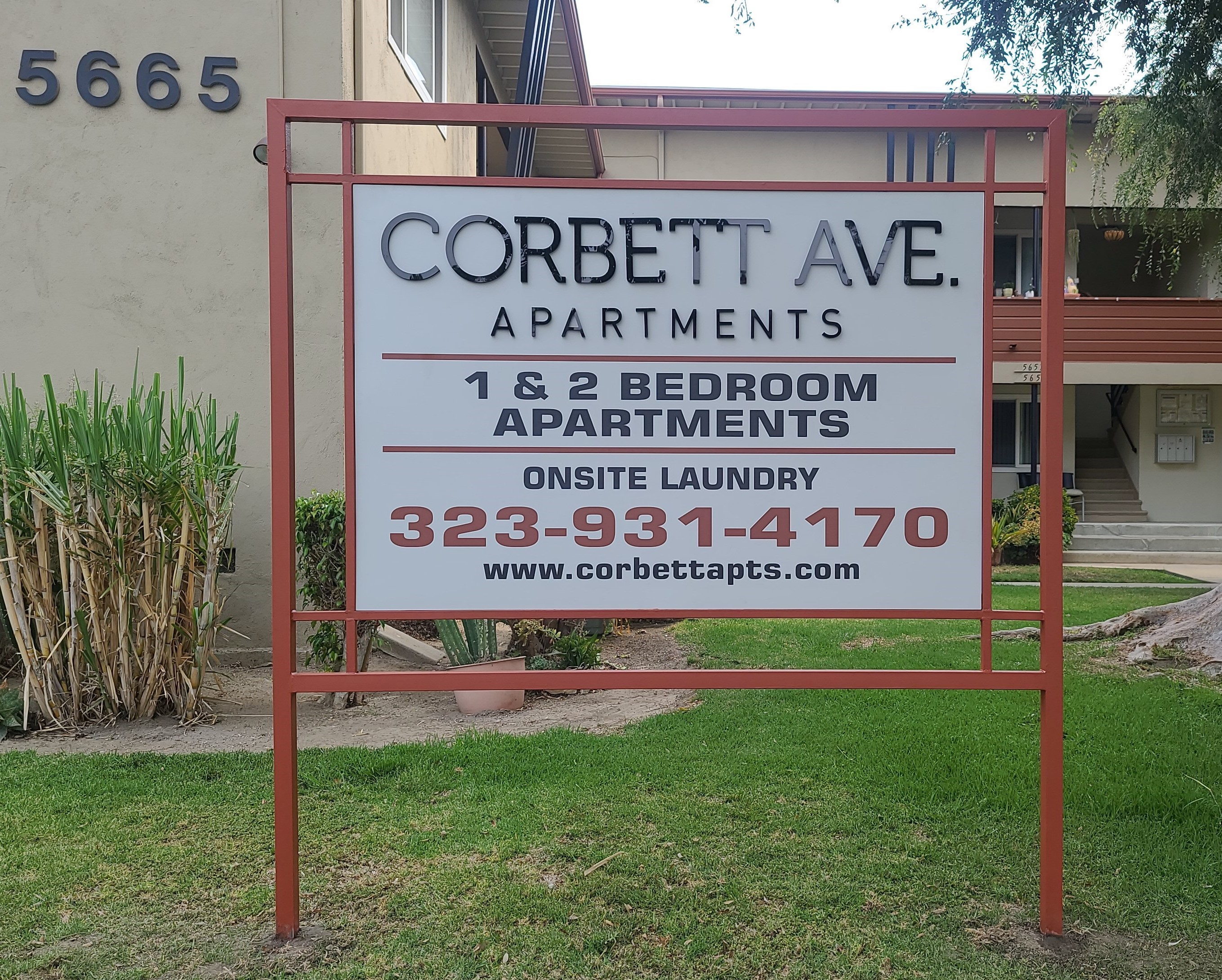 This post and panel apartment sign we fabricated and installed for Jones and Jones shows off their property in Corbett Avenue, Los Angeles,