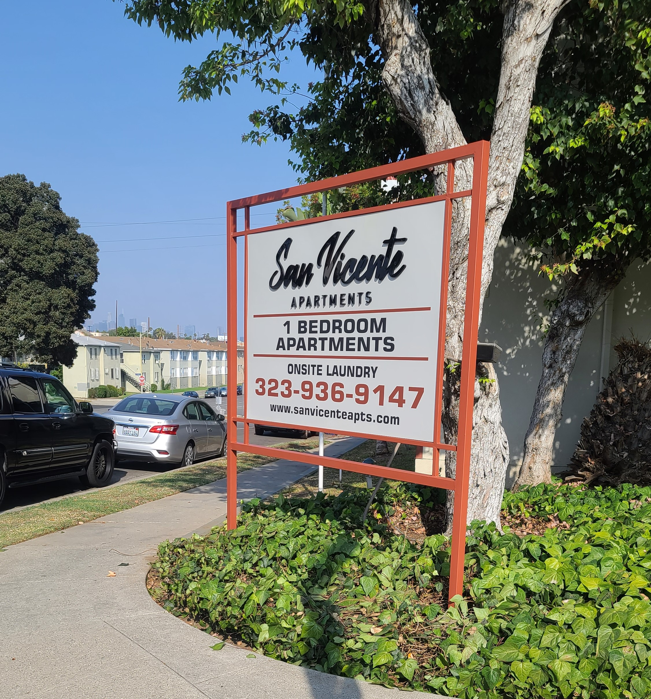 This is the post and panel apartment advertisement sign we fabricated and installed for our friends at Jones and Jones, it displays details about their San Vicente property so interested customers will know more about the available units.