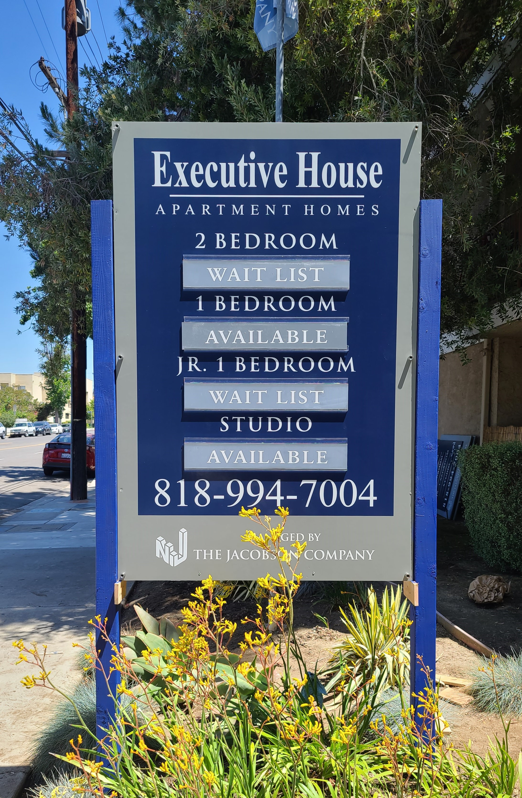 Part of our post and panel sign package for our friends in The Jacobson Company. This acrylic cover over the Van Nuys apartment sign protects it from vandalism.