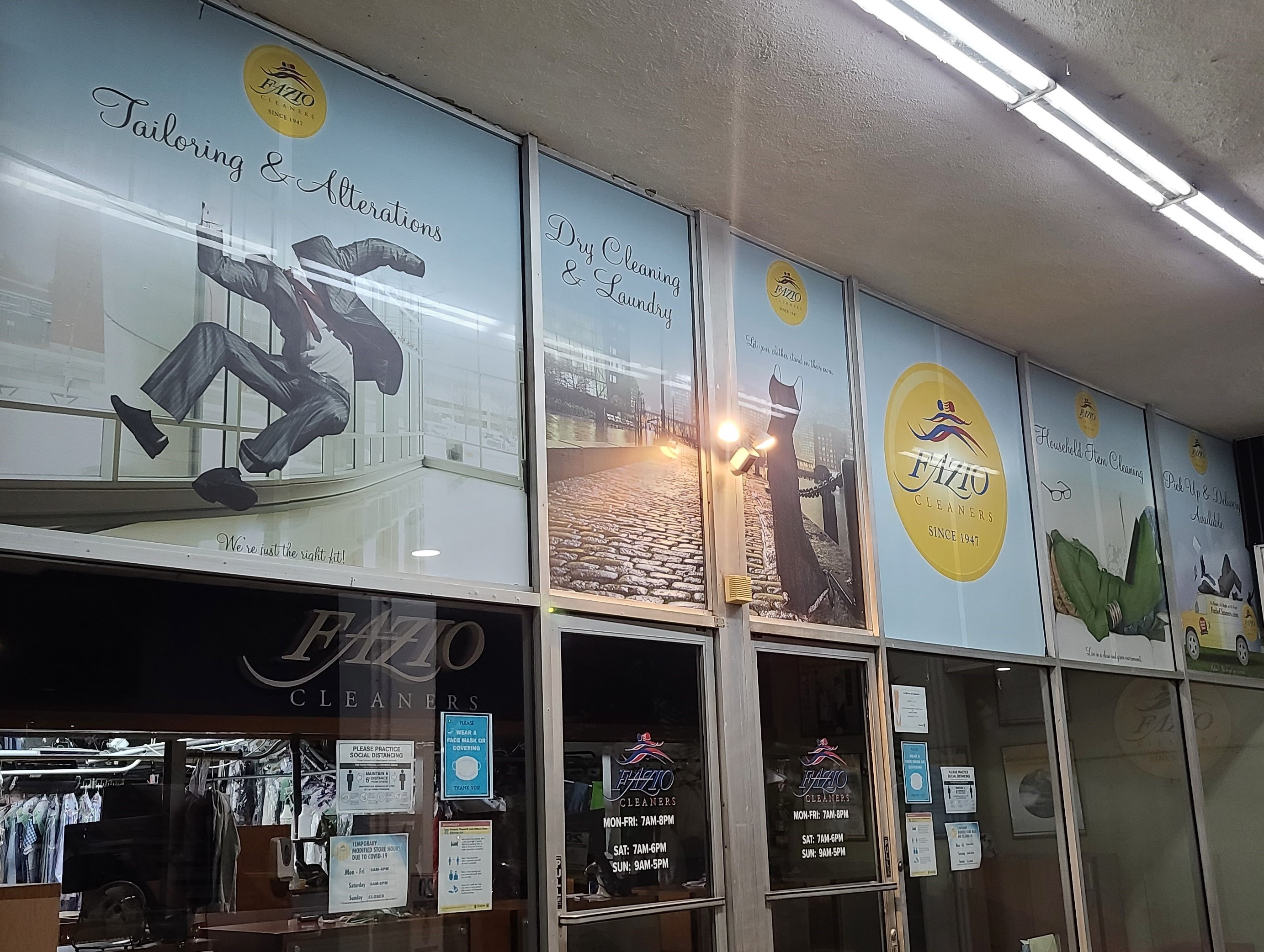 These eye-catching perforated window graphics really brighten up Fazio Cleaners' Los Angeles storefront while advertising their services at the same time.