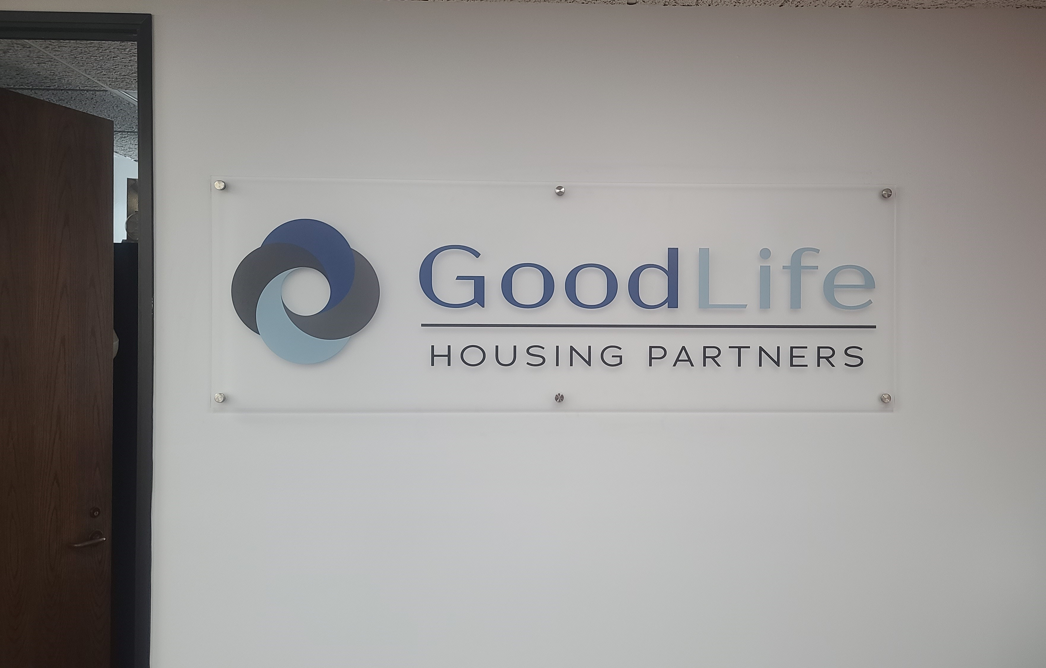 With this acrylic panel lobby sign for their Downtown Los Angeles office, GoodLife Housing will definitely impress those visiting their workplace.