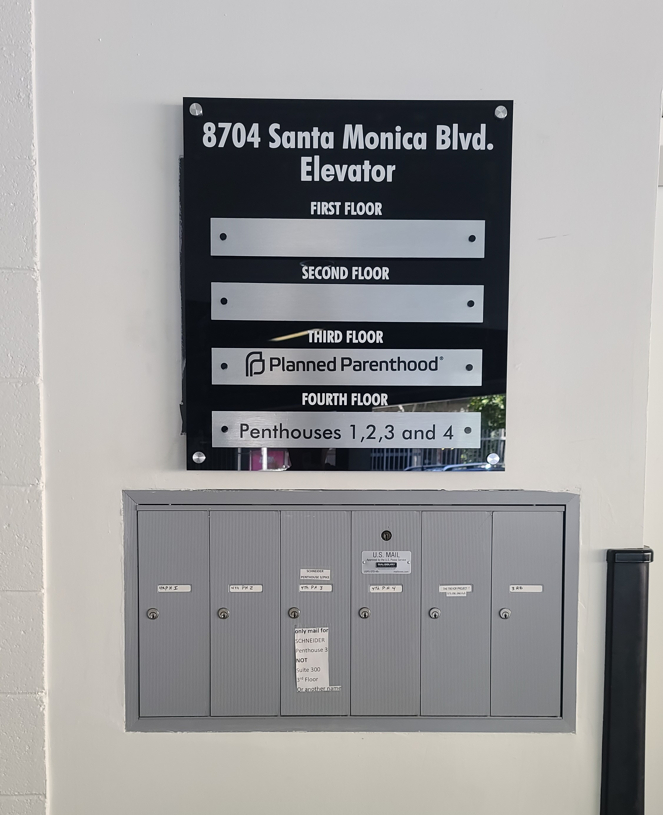 This tenant directory sign for Ronco Inc. helps residents and visitors alike better navigate the West Hollywood building.
