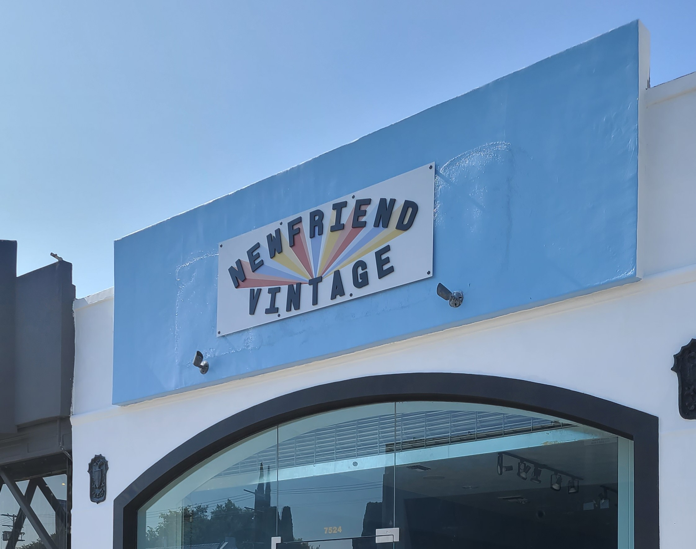 Unique signage will help make your brand stand out and attract customers. Like this custom storefront sign we for Newfriend Vintage's Los Angeles branch.