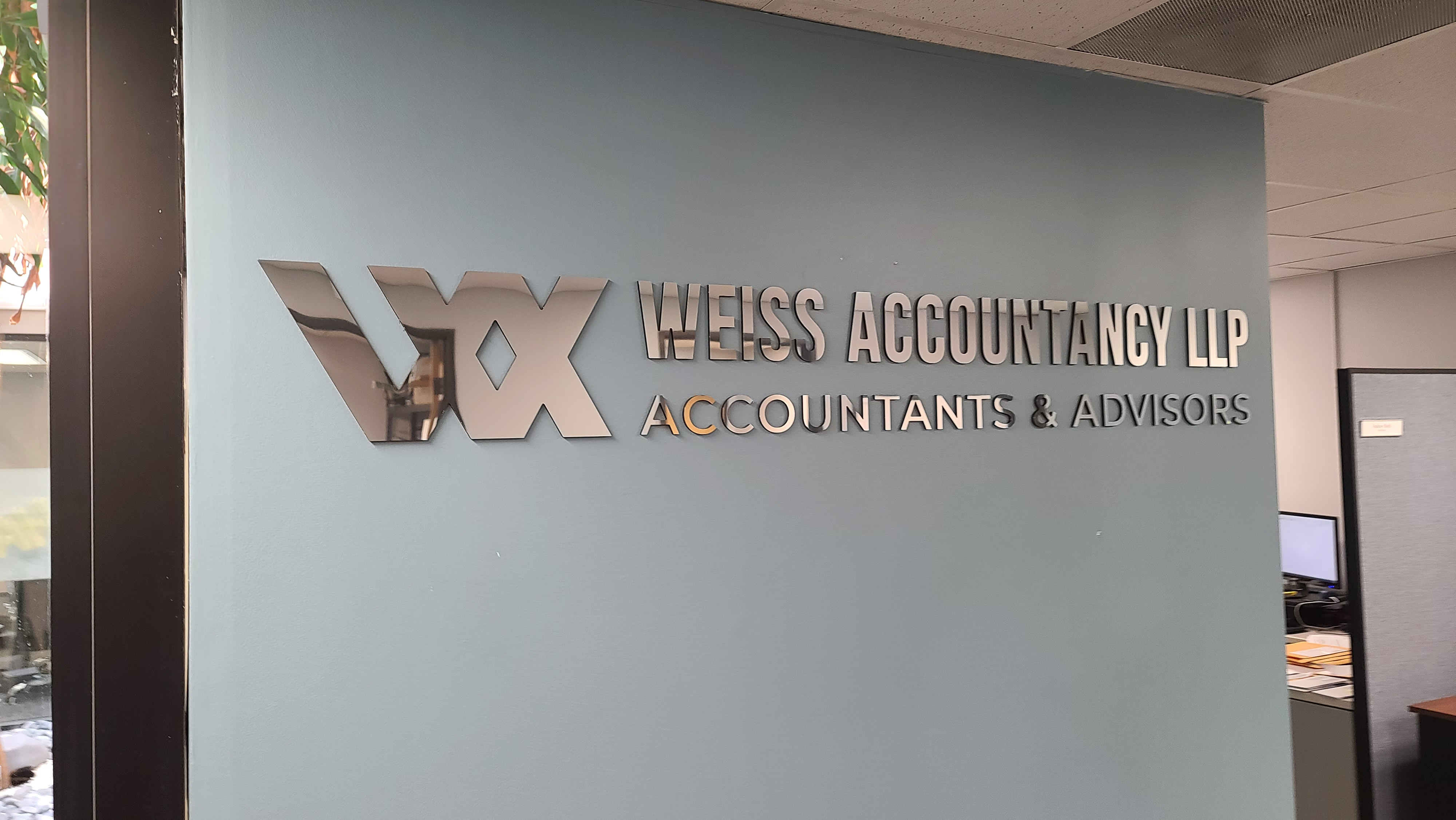 Another lobby sign for our friends at Weiss Accountancy, for their Van Nuys' office. This metal polished acrylic lobby sign is a thing of beauty.