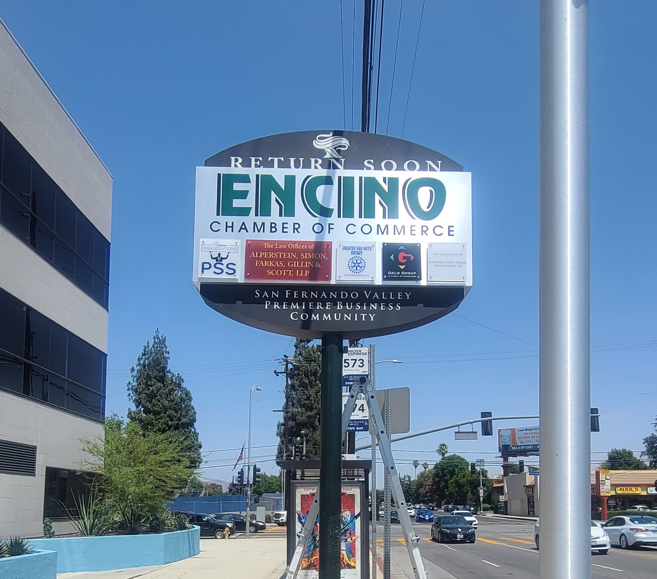Communities can greet visitors and residents alike with a welcome sign or two, like this acrylic plaque we fabricated and installed for the Encino Chamber of Commerce.