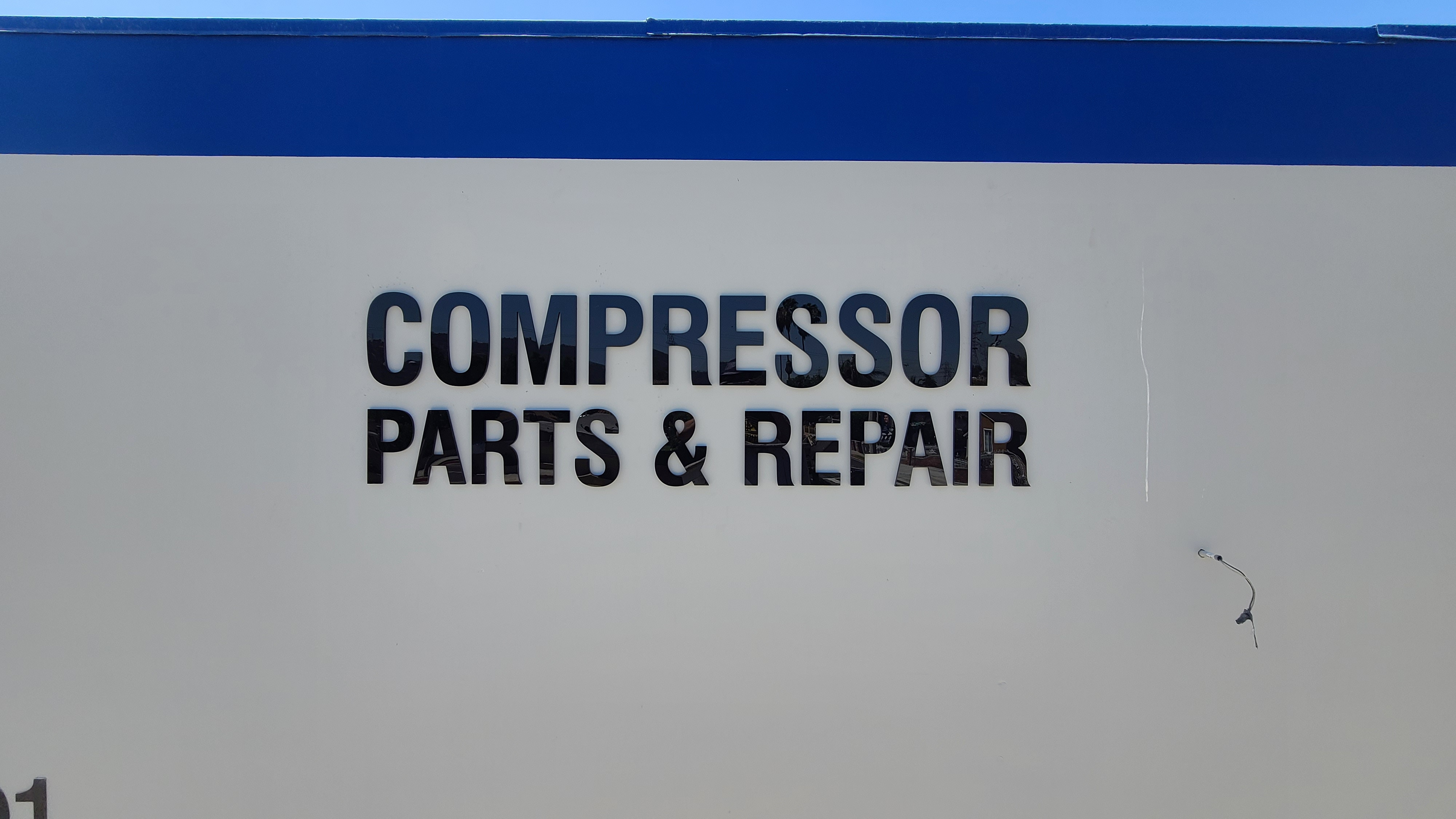 These are black acrylic letters for Compressor Parts and Repair in South El Monte. With their new business sign their establishment can attract more customers.