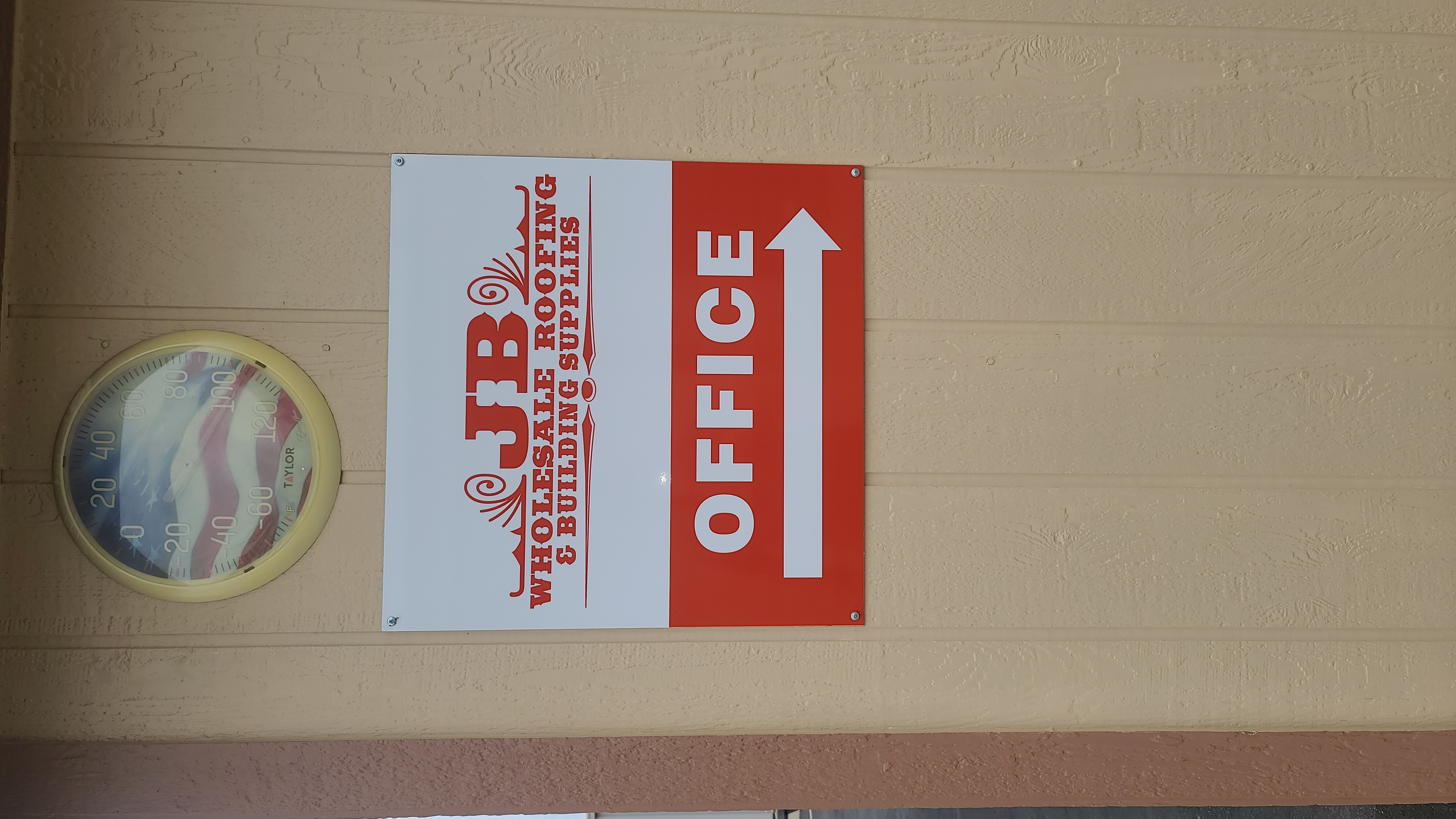This outdoor directional sign for JB Wholesale Roofing's Murrieta location shows the way to their office, which is helpful for staff and visitors alike.