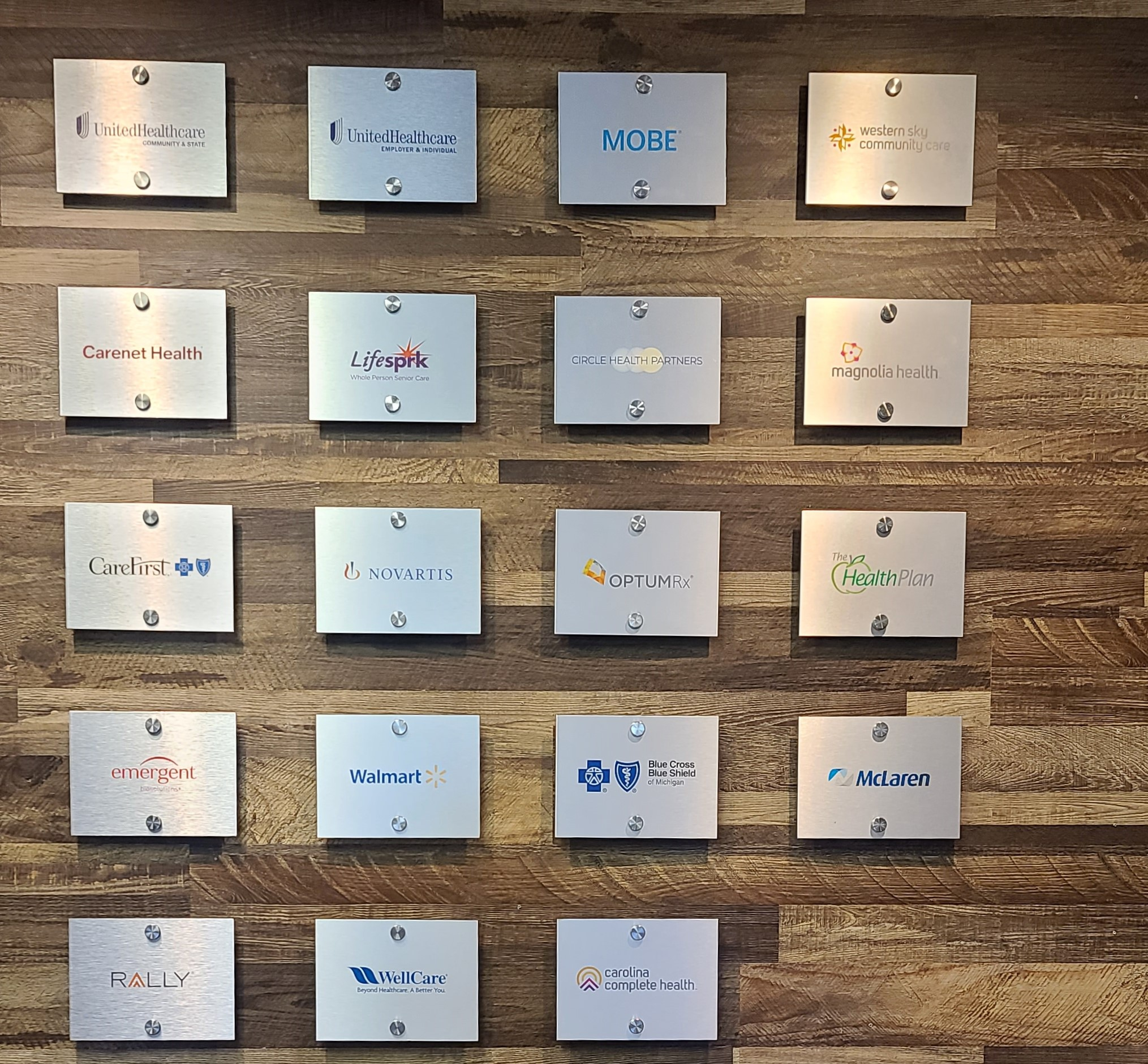With these client plaques for their Encino office lobby mPulse can advertise how their services and products are sought after by big companies.