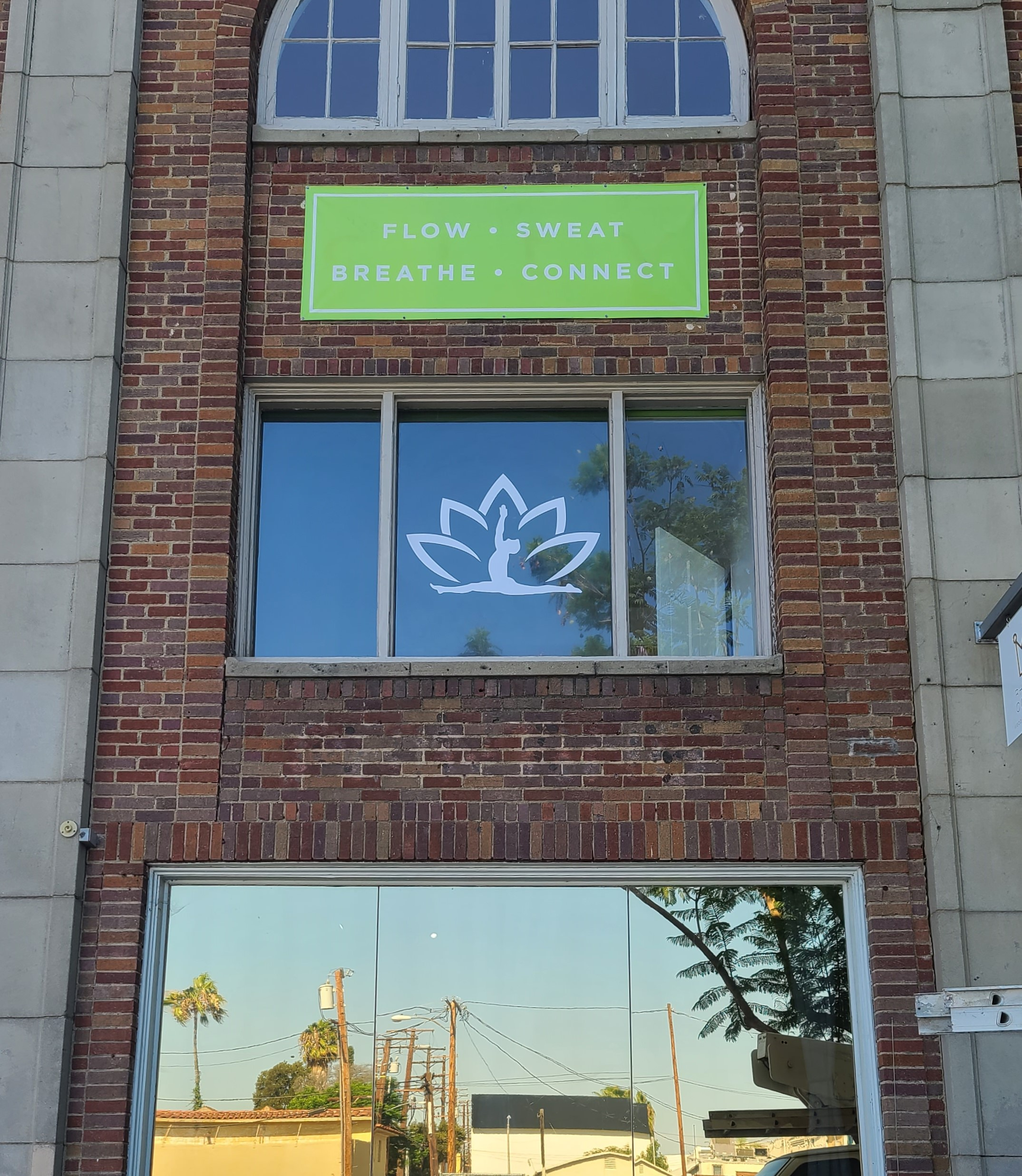 These studio window graphics compliment the other signage we installed for Shiva Yoga's West Hollywood space.