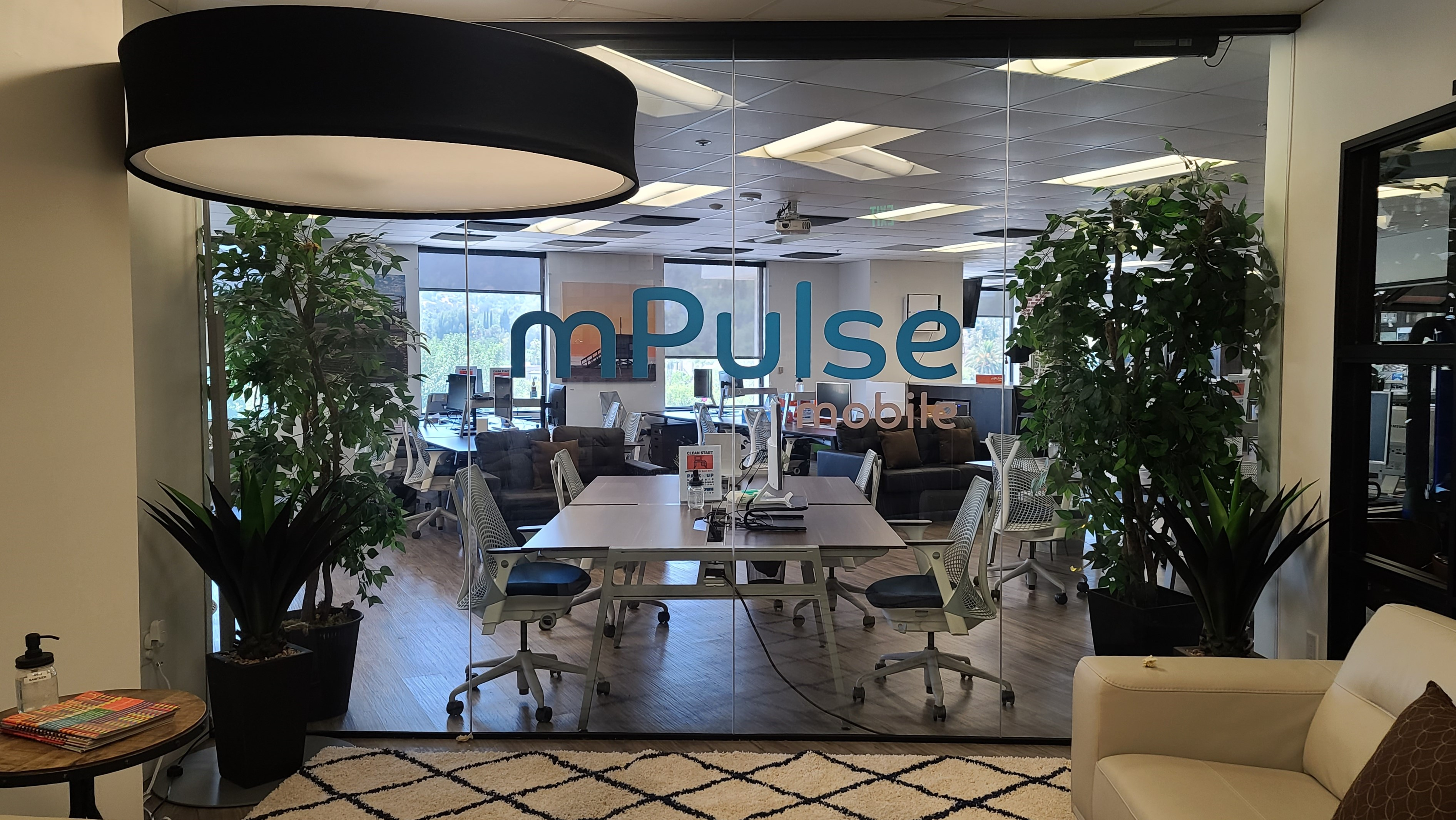 More from our office sign package for mPulse Mobile. These office window graphics enhance their Encino workplace, adding to its sleek and stylish appearance.