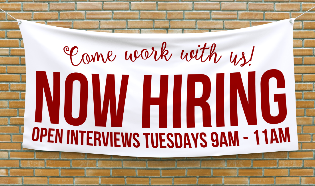 Looking for employees? Why not post banners? Now hiring signs are a surefire way to draw in applicants.
