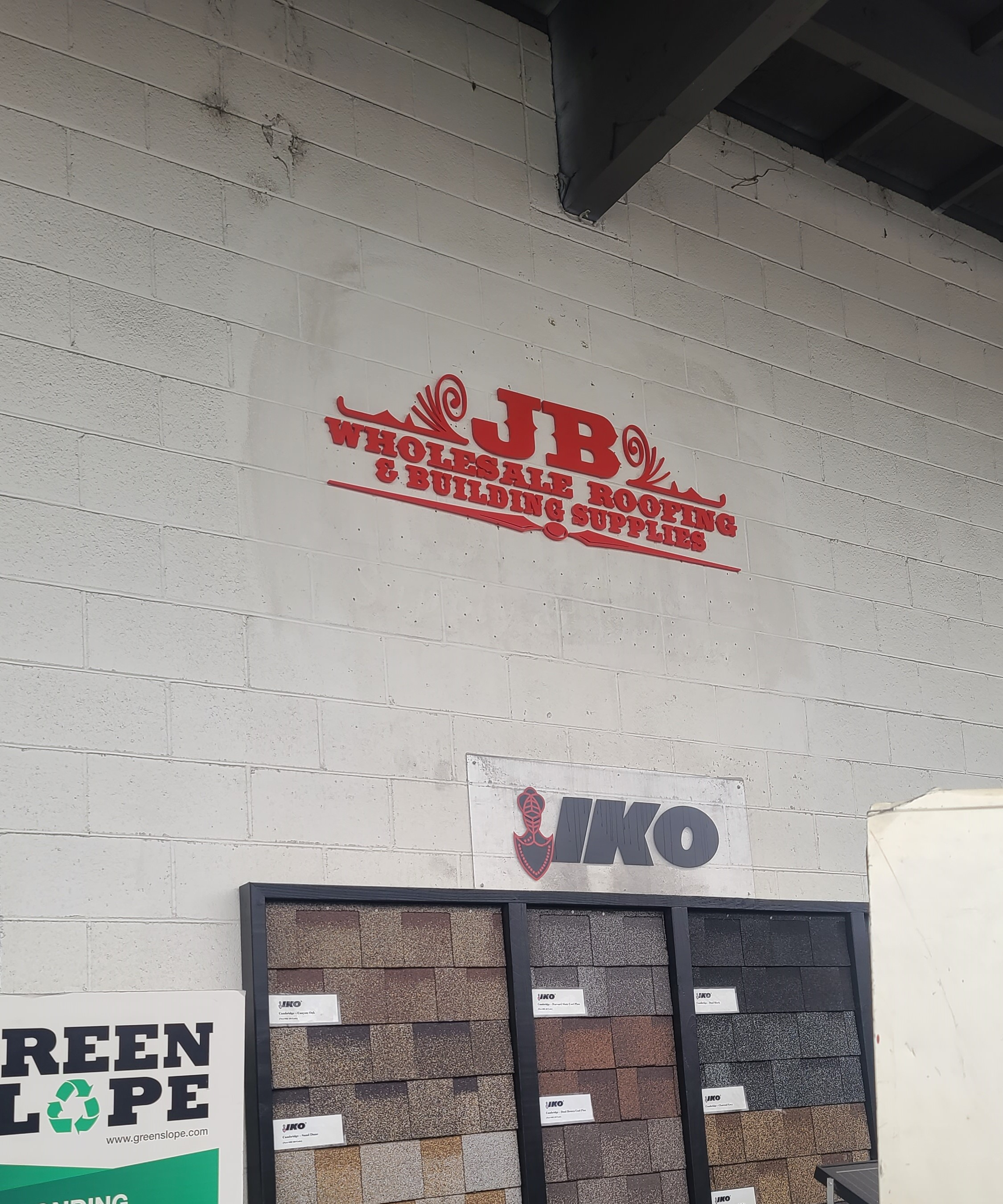 These are the maxmetal 3D letters sign we fabricated and installed for JB Wholesale Roofing & Building Supplies' Azusa location.