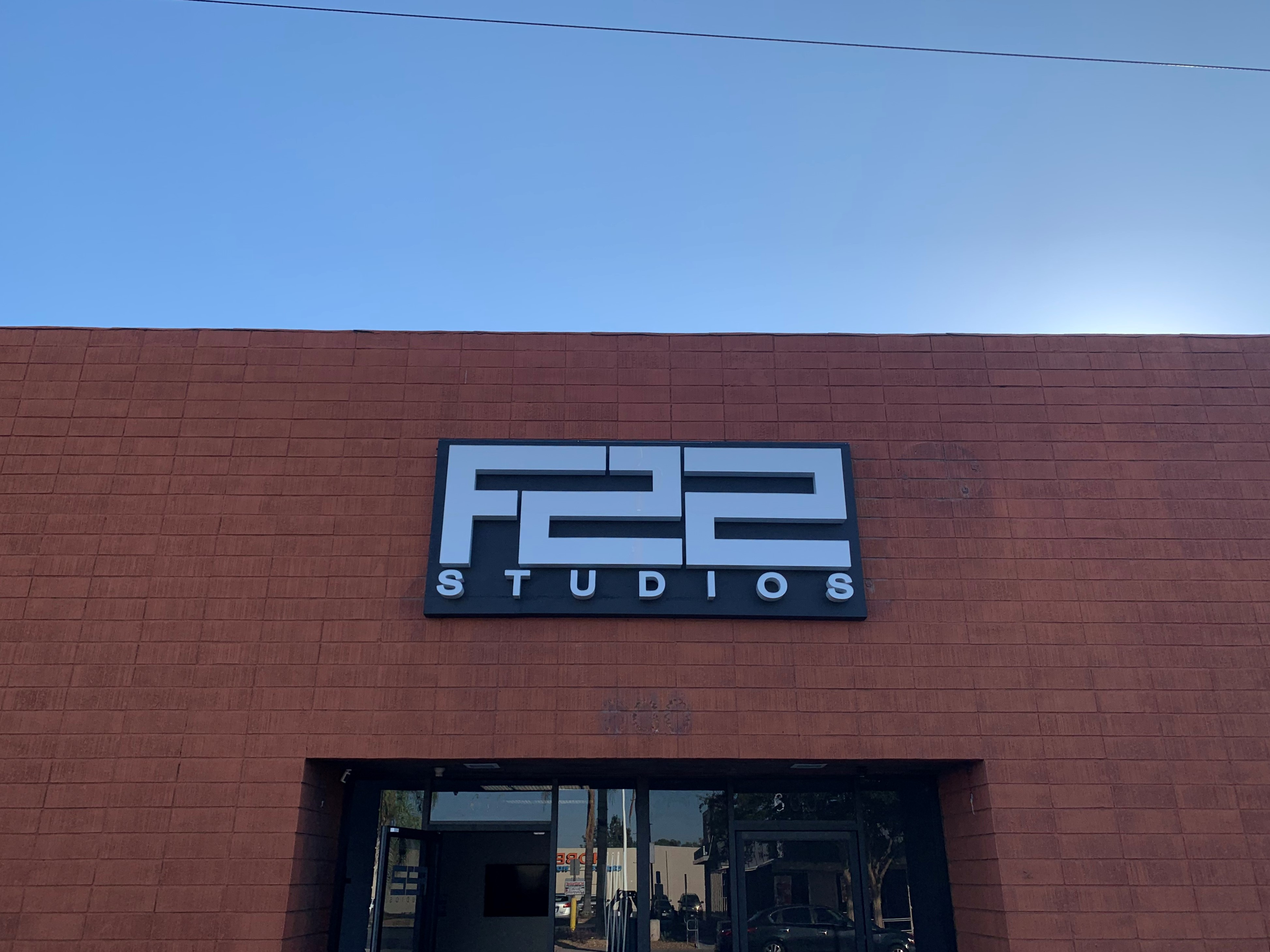 Businesses in the film industry need impressive signage, such as these building channel letters we made for F22 Studios' Burbank branch.