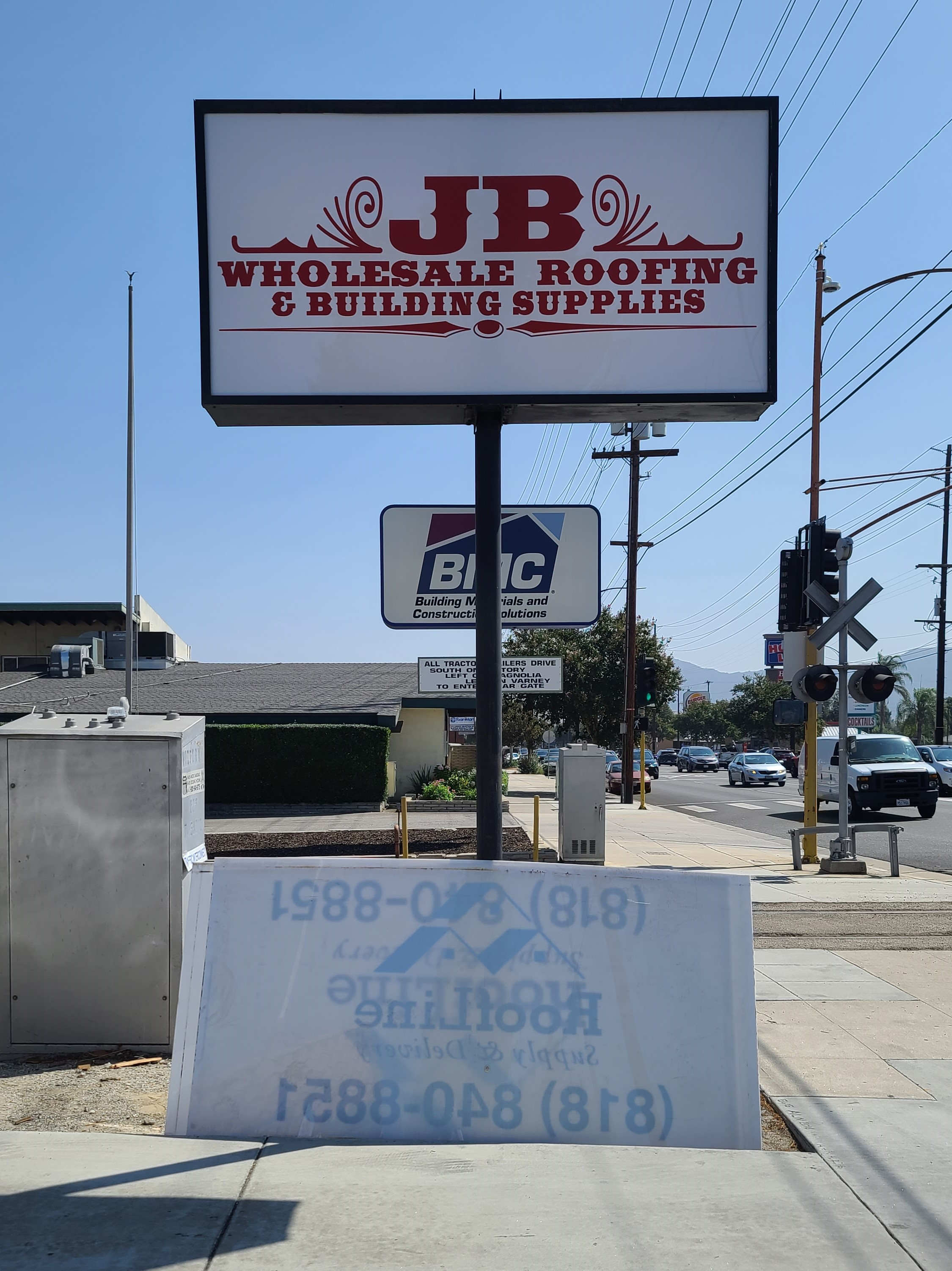 More from our extensive sign package for JB Wholesale Roofing & Building Supplies, this time it's lexan print light box sign inserts for their Burbank branch.