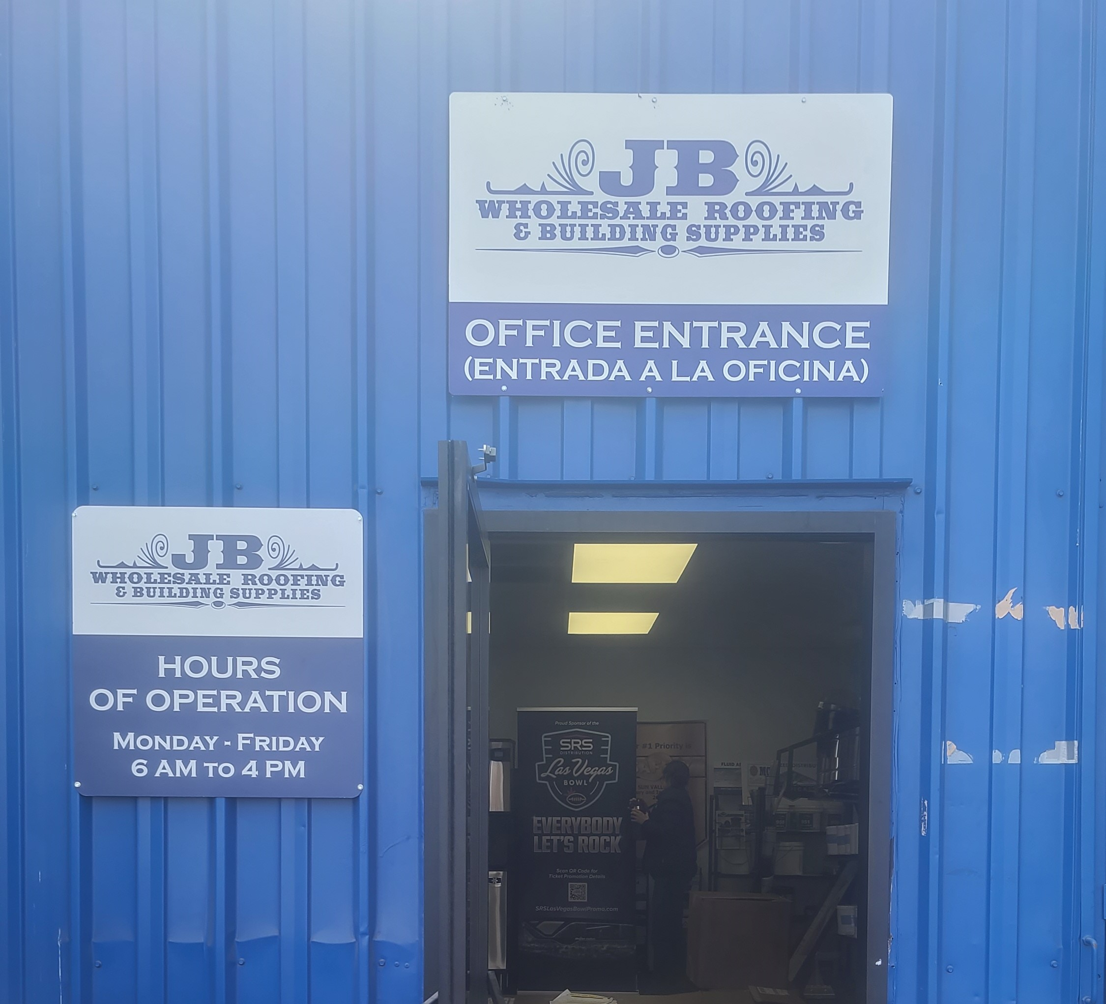 These are the office exterior signs for JB Wholesale Roofing & Building Supplies' Sun Valley location.